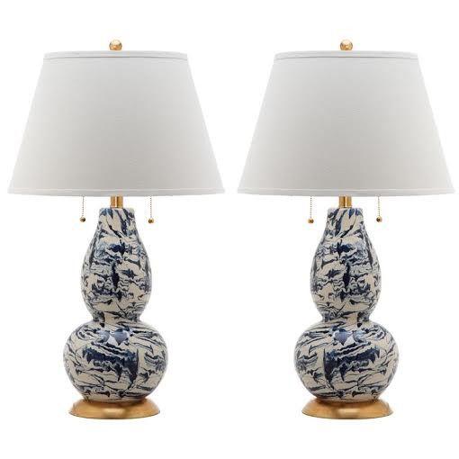 Splatter Lamp Pair Cobalt Blue Furbish Studio Glass Table Lamp Lamp Sets Table Lamp