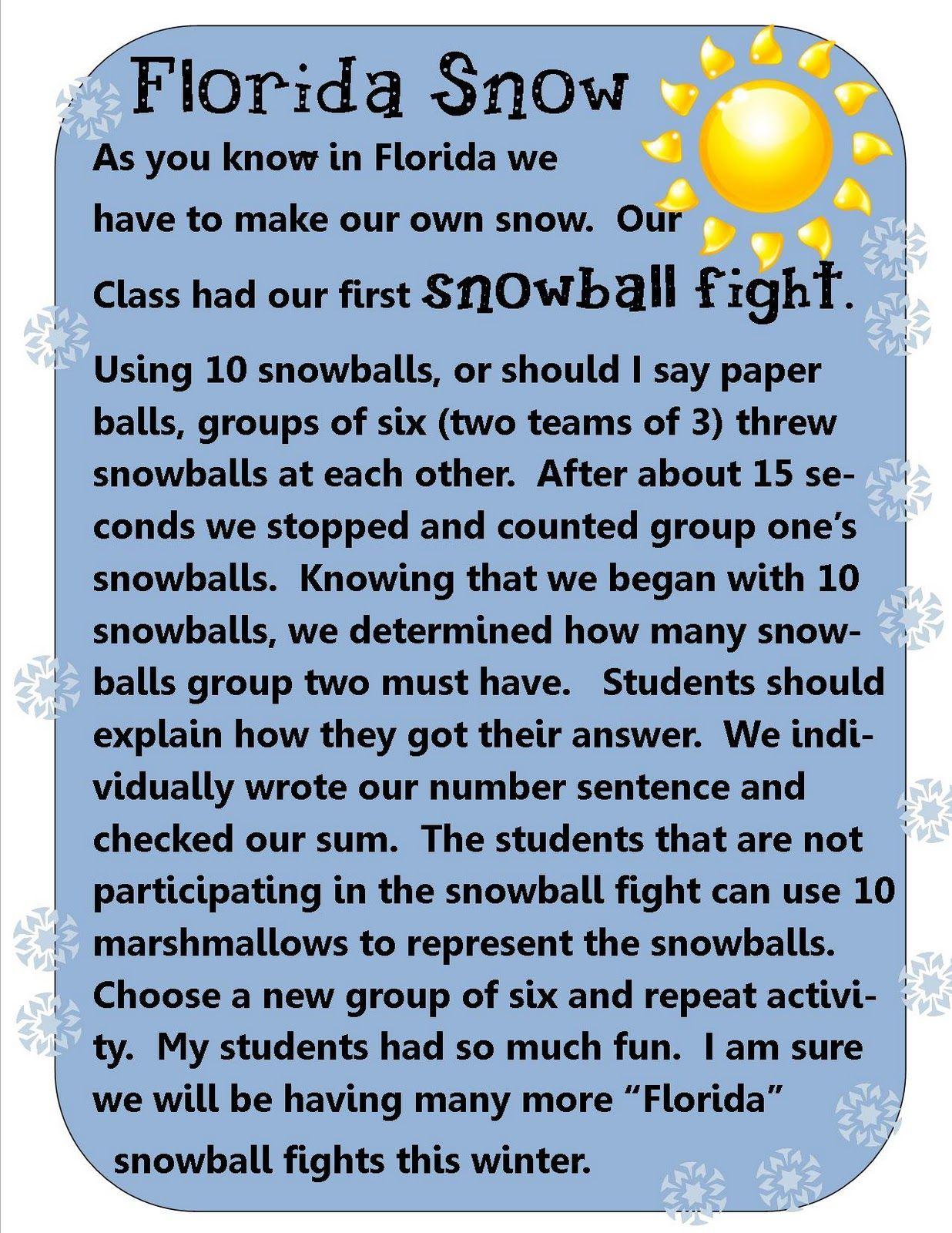 Snowball Fight math activity}}*** | Winter Themes & Ideas ...