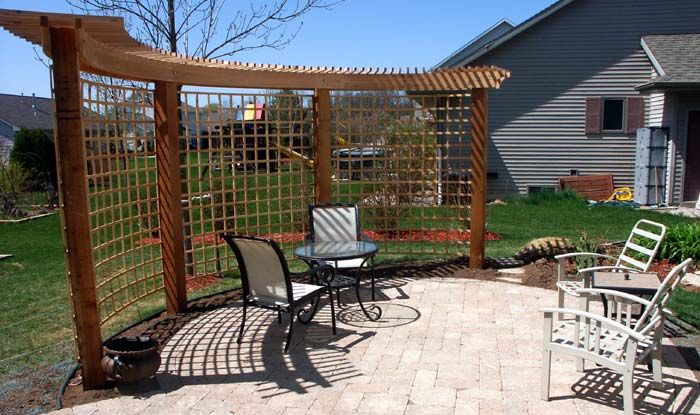 High Quality Small Arbor Ideas | We Suggested A Curved Arbor To Hug The Perimeter Of The  Patio