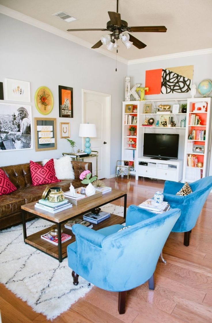 Etonnant Ideas To Make Living Room Colorful With Leather Couch; Love This Creatively Decorated  Living Room
