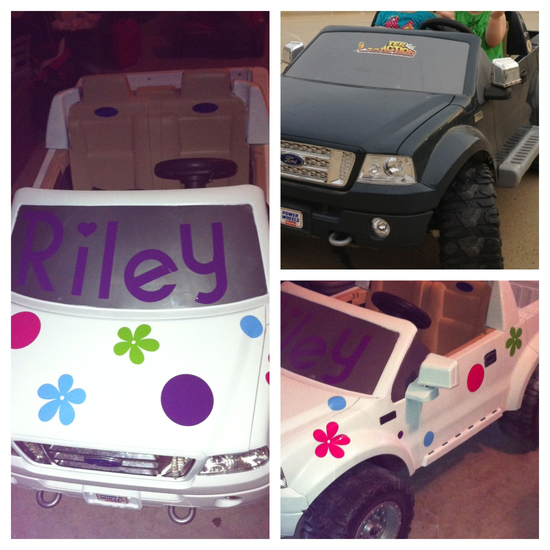 Before and after power wheels make over Plastic spray paint and