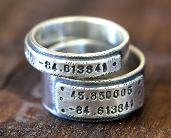 Wedding Ring Set Personalized Bands By Monkeysalwayslook 175 00
