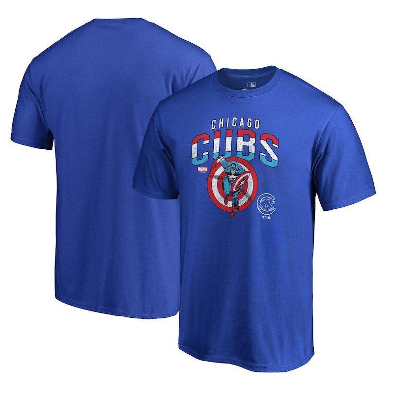 Chicago Cubs Fanatics Branded MLB Marvel Captain's Shield T