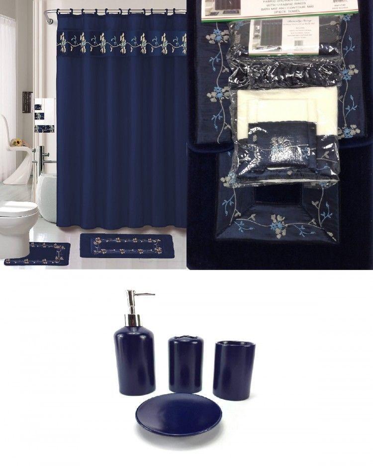 Bath Accessory Set Navy Blue Flower Bathroom Rug Set Shower Curtain Accessory Bathroomsets Blue Bathroom Navy Blue Bathrooms Bathroom Sets