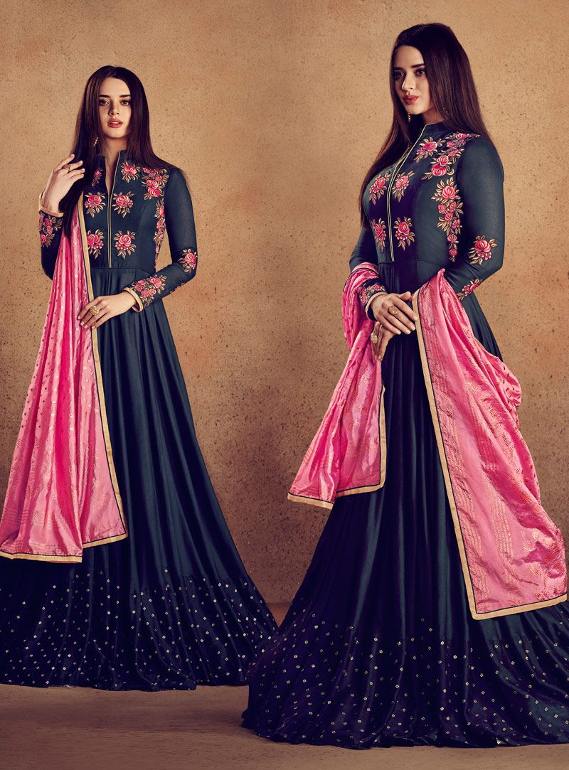 2114f8426a Buy Navy Blue Rayon Readymade Anarkali Suit 142260 online at lowest price  from huge collection of salwar kameez at Indianclothstore.com.