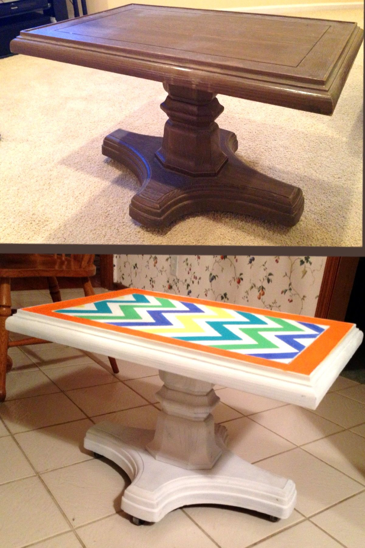 DIY Dorm Decor Chevron Coffee Table