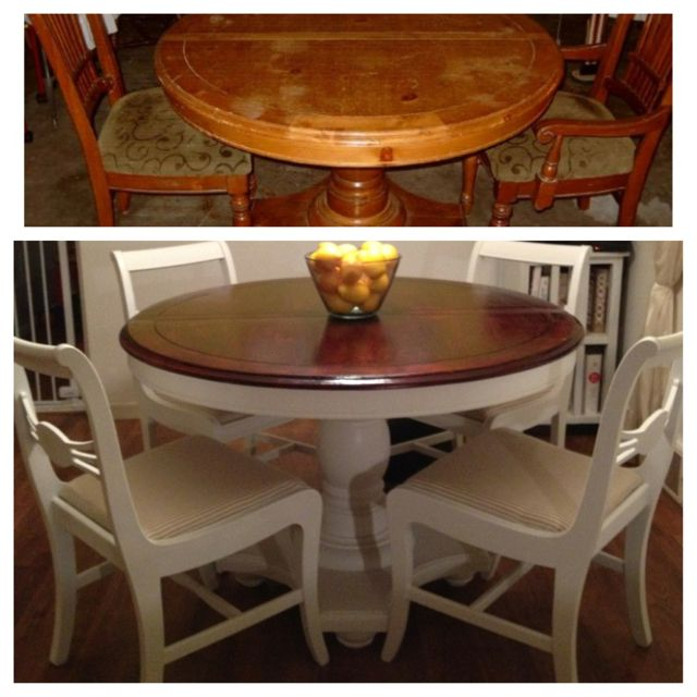 Refinished Dining Room Tables: Before And After Shot Of A Table And Chairs I Refinished