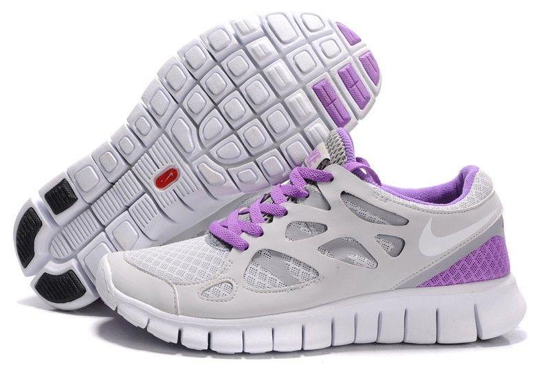 Chaussures Nike Free Run +2 Running Femme En Gris Clair/Blanc/Pourpre,