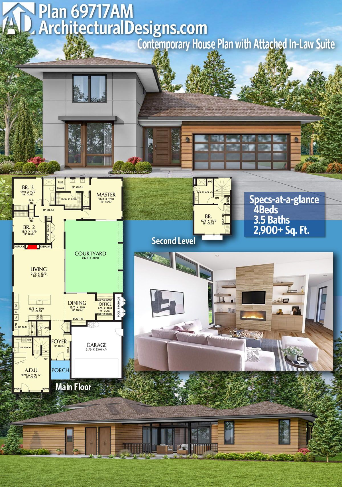 Plan 69717am Contemporary House Plan With Attached In Law Suite Modern House Plans Contemporary House Plans House Plans