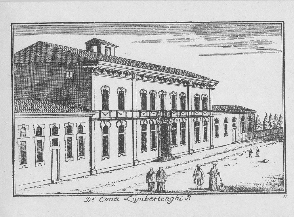 """Palazzo Isimbardi, corso Monforte, Milano. Marc'Antonio Dal Re, """"Vedute di Milano"""", incisione 55 (ca. 1745)."""