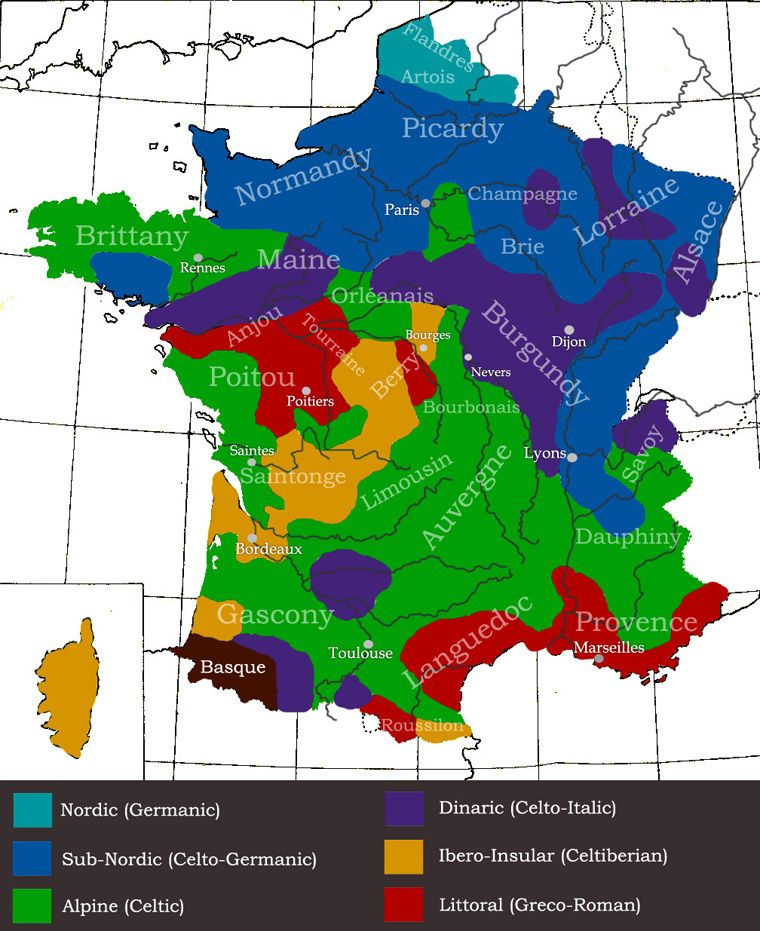Genetic Map Of France Regional Differences In People Place - Map 9f germany