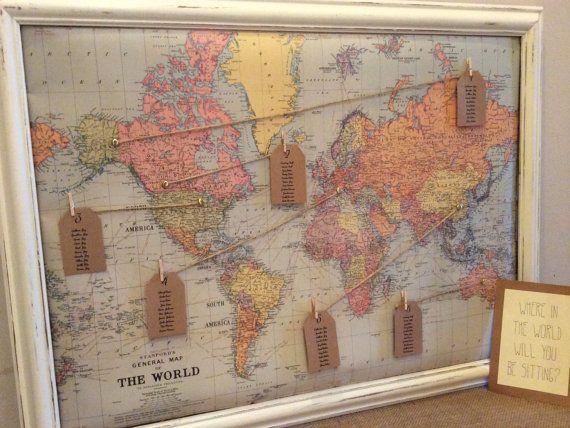 Vintage world map wedding seating plan gumiabroncs Gallery