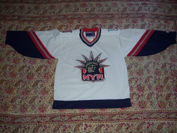premium selection 5735b dc119 CCM Rangers Jersey Vintage 1990s Made in Canada Liberty Logo ...