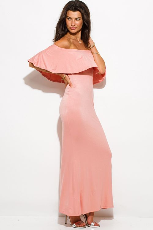 Cute cheap pastel pink rayon jersey ruffle off shoulder tiered ...