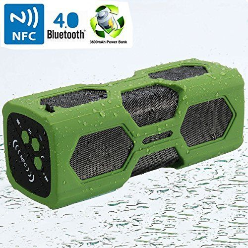 VICTORSTAR Waterproof Sport Speaker Bluetooth CSR 40 with NFC 3600mah Rechargeable Battery 12 Playing Hours 2x3W Stereo Bass Sound Shockproof  Antiscratch Portable Power Bank Green * Read more reviews of the product by visiting the affiliate link Amazon.com on the image.