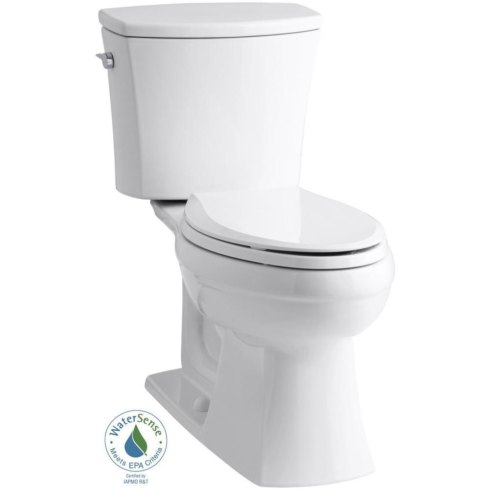 Kohler Kelston Comfort Height 2 Piece 1 28 Gpf Single Flush Elongated Toilet With Aquapiston Flushing Technology In White K 3755 0 In 2020 Kohler Toilet Elongated Toilet Seat