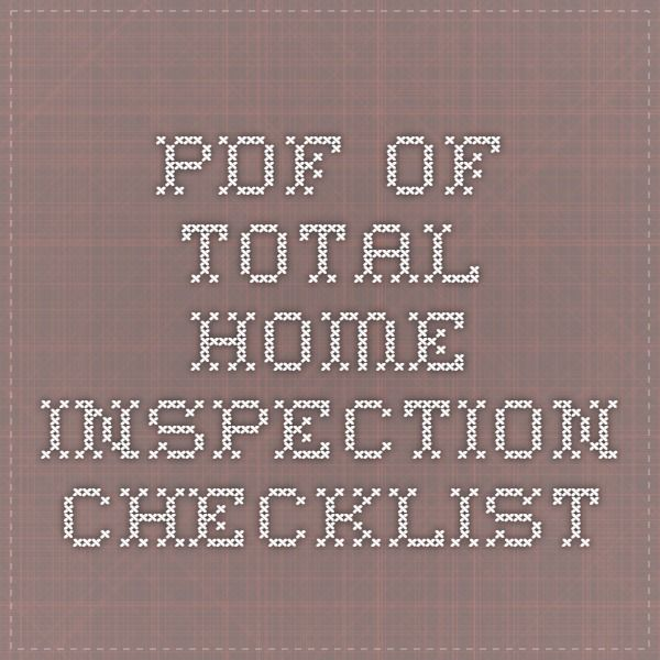 pdf of total home inspection checklist One Day Pinterest - home inspection checklist