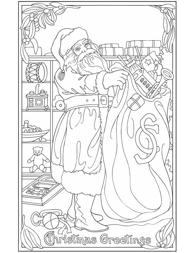Vintage Christmas Greetings Coloring Book Dover