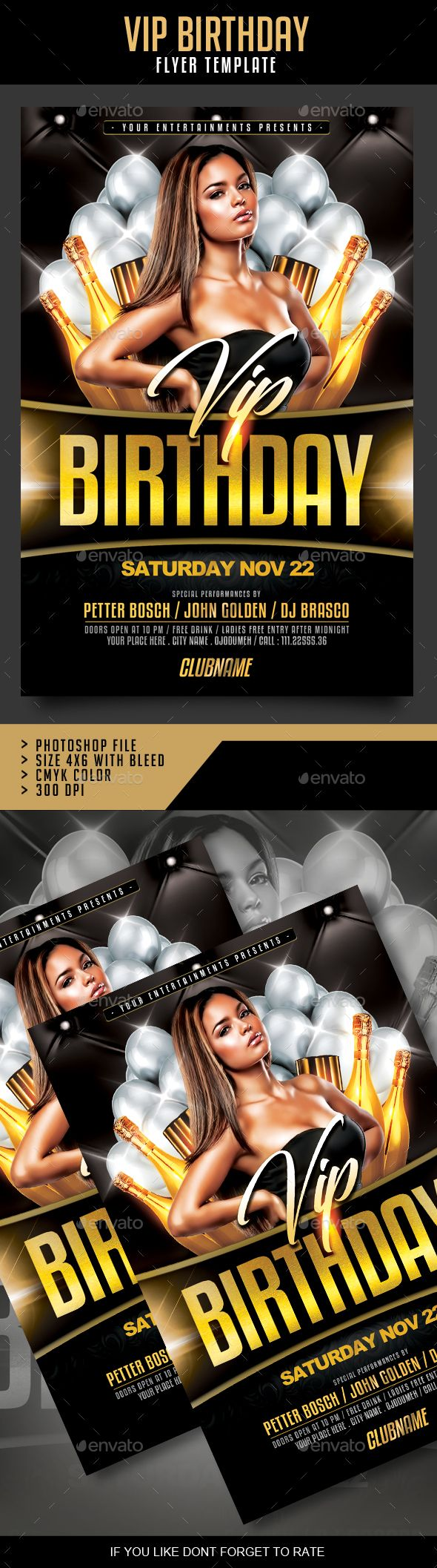 Vip Birthday Flyer  Vip Flyer Template And Event Flyers