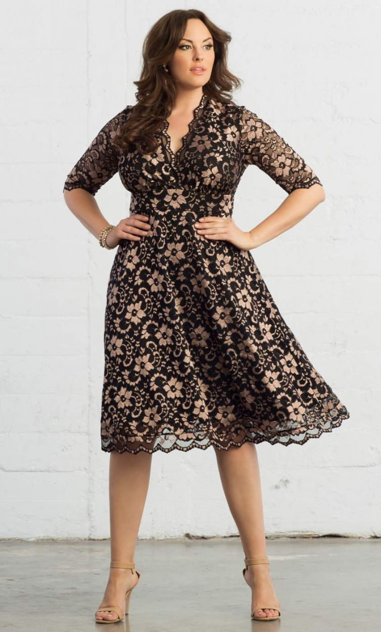 PRE ORDER: Mademoiselle Lace Dress - Rose Gold & Onyx_3 (click to ...