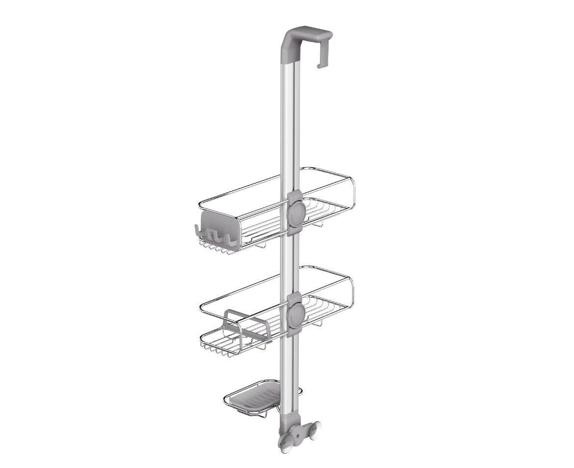 Adjustable Shower Caddy Stainless Steel Anodized Aluminum Soap