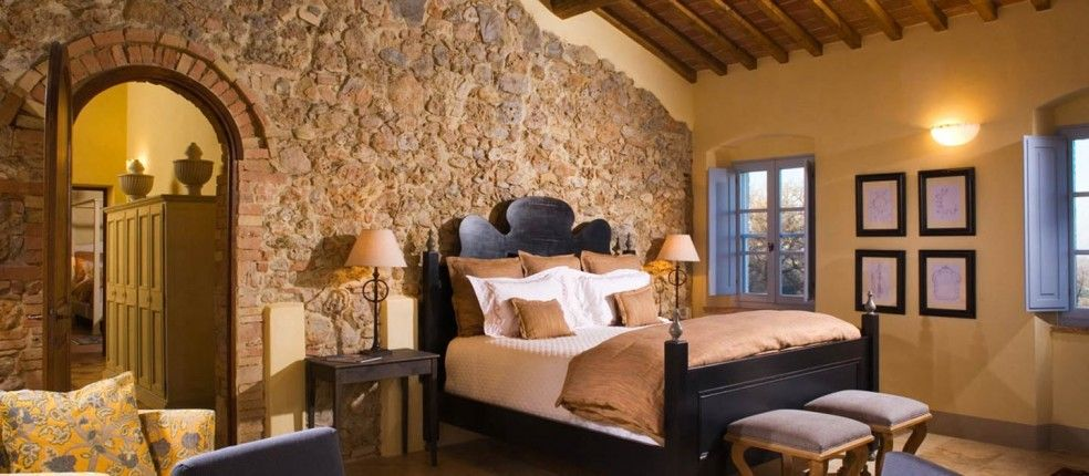 Stone And Wood Make A Dark Masculine Interior: Interior Design Styles. Rustic Tuscany Style Bedroom With