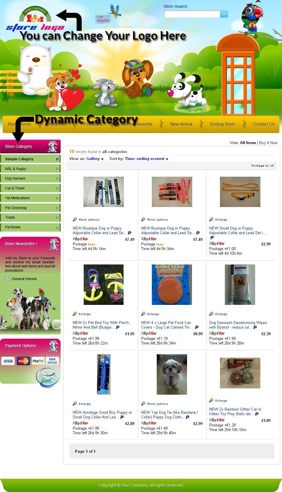 Cute Puppy eBay Store Templates 100% Free Installation! Buy | eBay ...