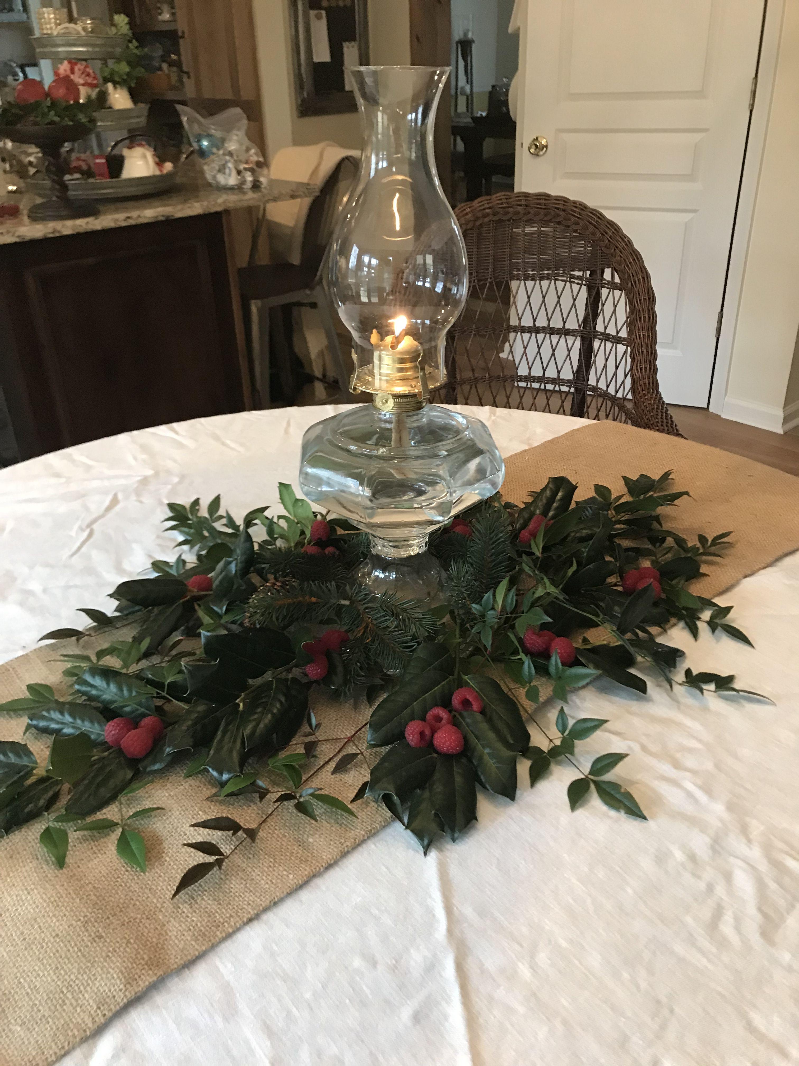 Gas Lamp Fresh Greenery Christmas Centerpieces Christmas Table Decorations Christmas Decorations