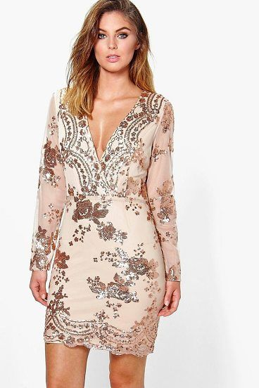 e2c3cbcba0f Boutique Fi Sequin Print Mesh Bodycon Dress by Boohoo. Dresses are the  most-wanted wardrobe item for day-to-night dressing. From cool-tone whites  to block ...