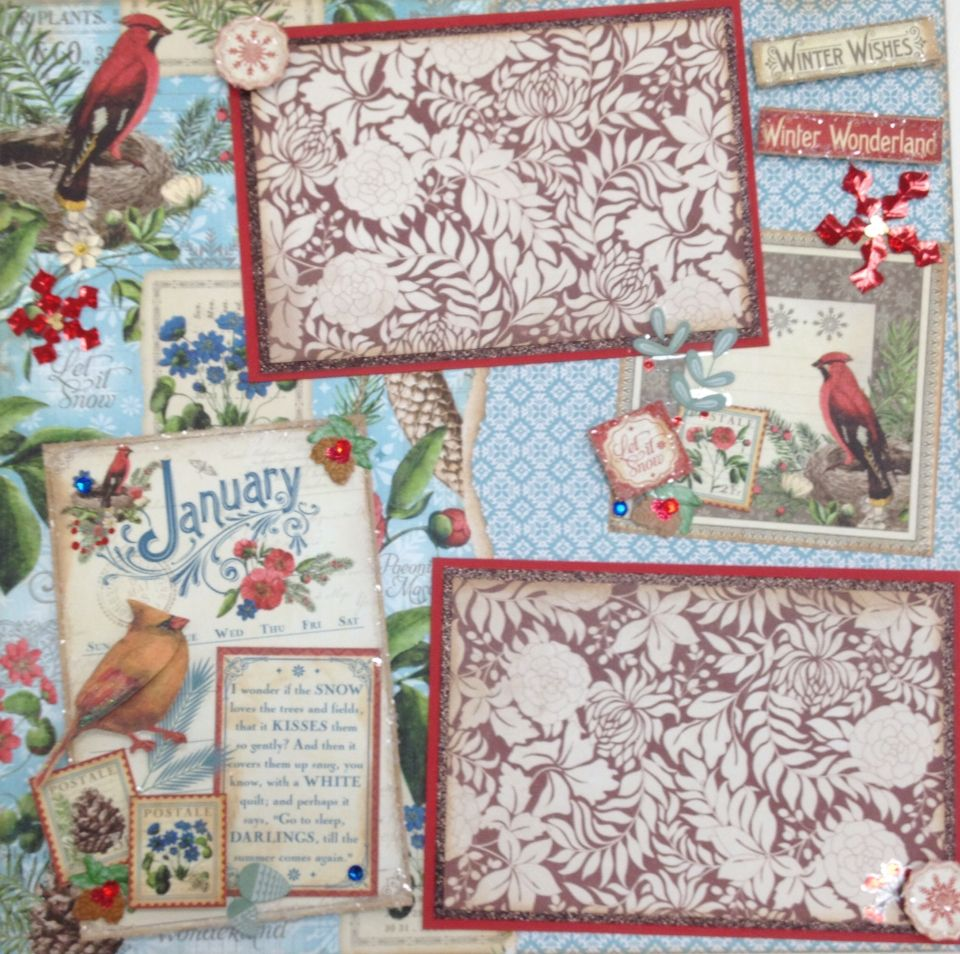 January scrapbook ideas - Graphic 45 Time To Flourish January Scrapbook Page Layout Using Papers From