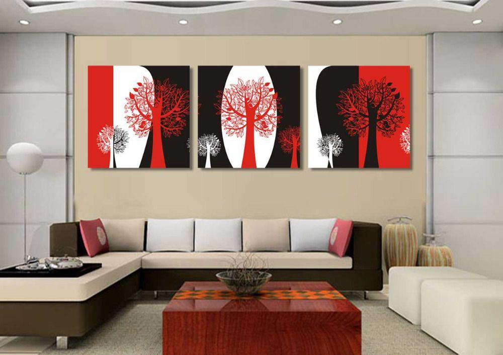 Sans cadre Abstrait noir et rouge et blanc encore vie 3 panneaux - peinture blanche pour mur