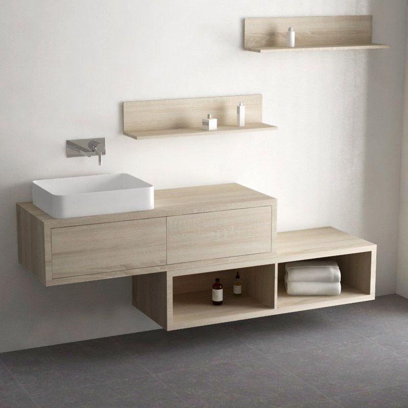 Ensemble meuble salle de bain 120 cm + caisson rangement et ...