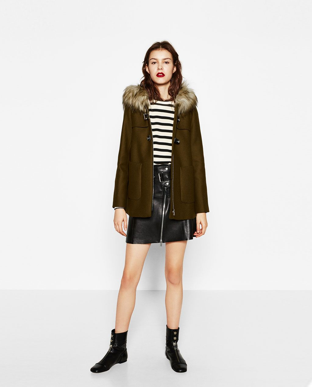 Image 1 of A-LINE DUFFLE COAT from Zara   Glam   Pinterest ...