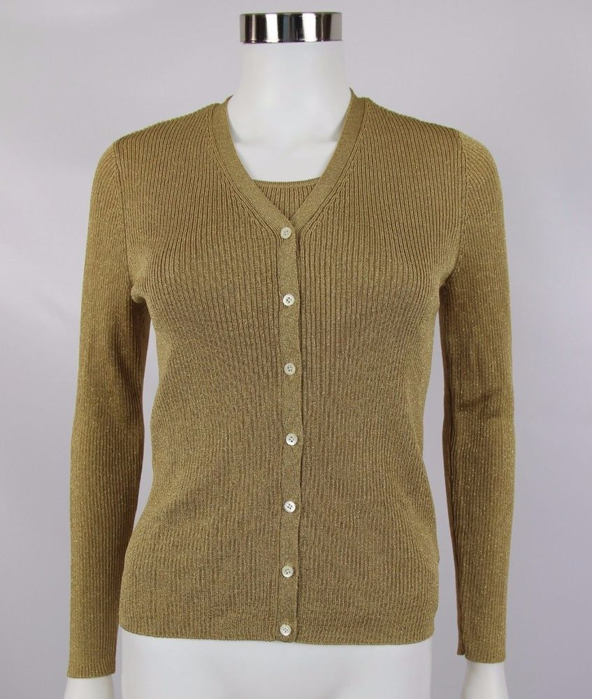 f7d7ffa616 Lauren Ralph Lauren Womens Petite Small Metallic Gold Ribbed Cardigan Twin  Set  LaurenRalphLauren  Twinset