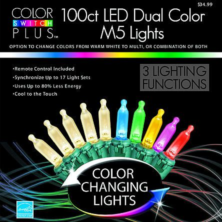Color Switch Plus Dual Color Changing LED M5 Christmas Lights with 3