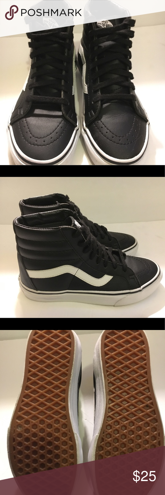 Vans black leather with the white size 4 1 2 Black and white all leather  vans hightops literally worn once previously owned great condition size 4  1 2 item ... c2d3c5a05