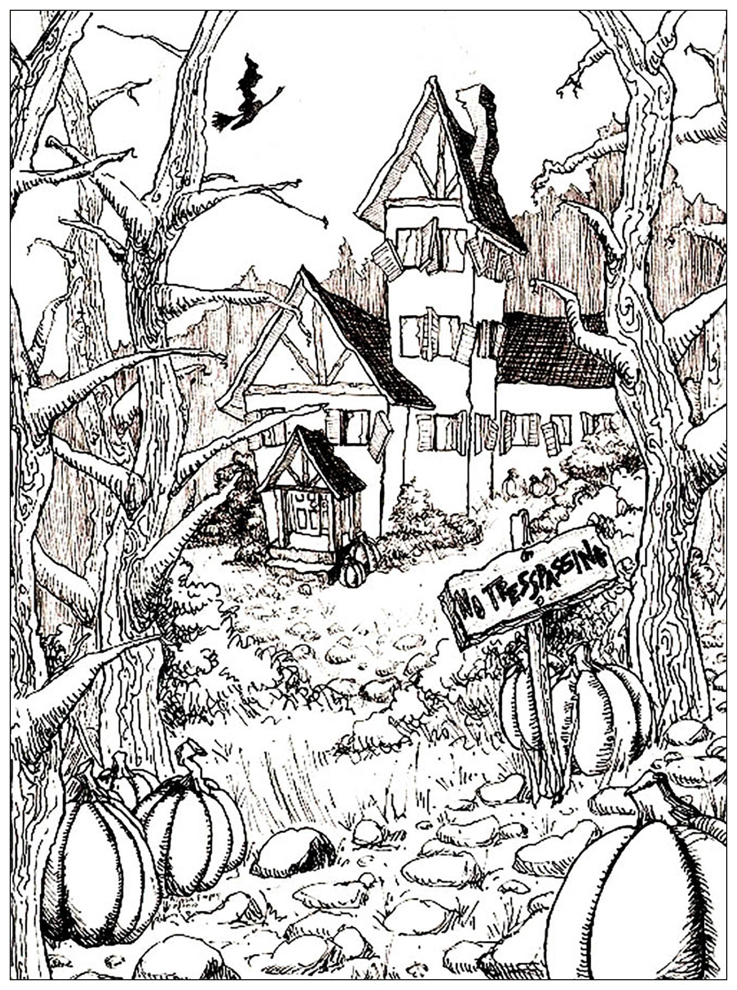 Free coloring pages houses and homes - Free Coloring Page Coloring Halloween Difficult On The Theme Of Halloween Here Is A Very Rich Draing Of A Haunted House At The Bottom Of A Garden Full Of