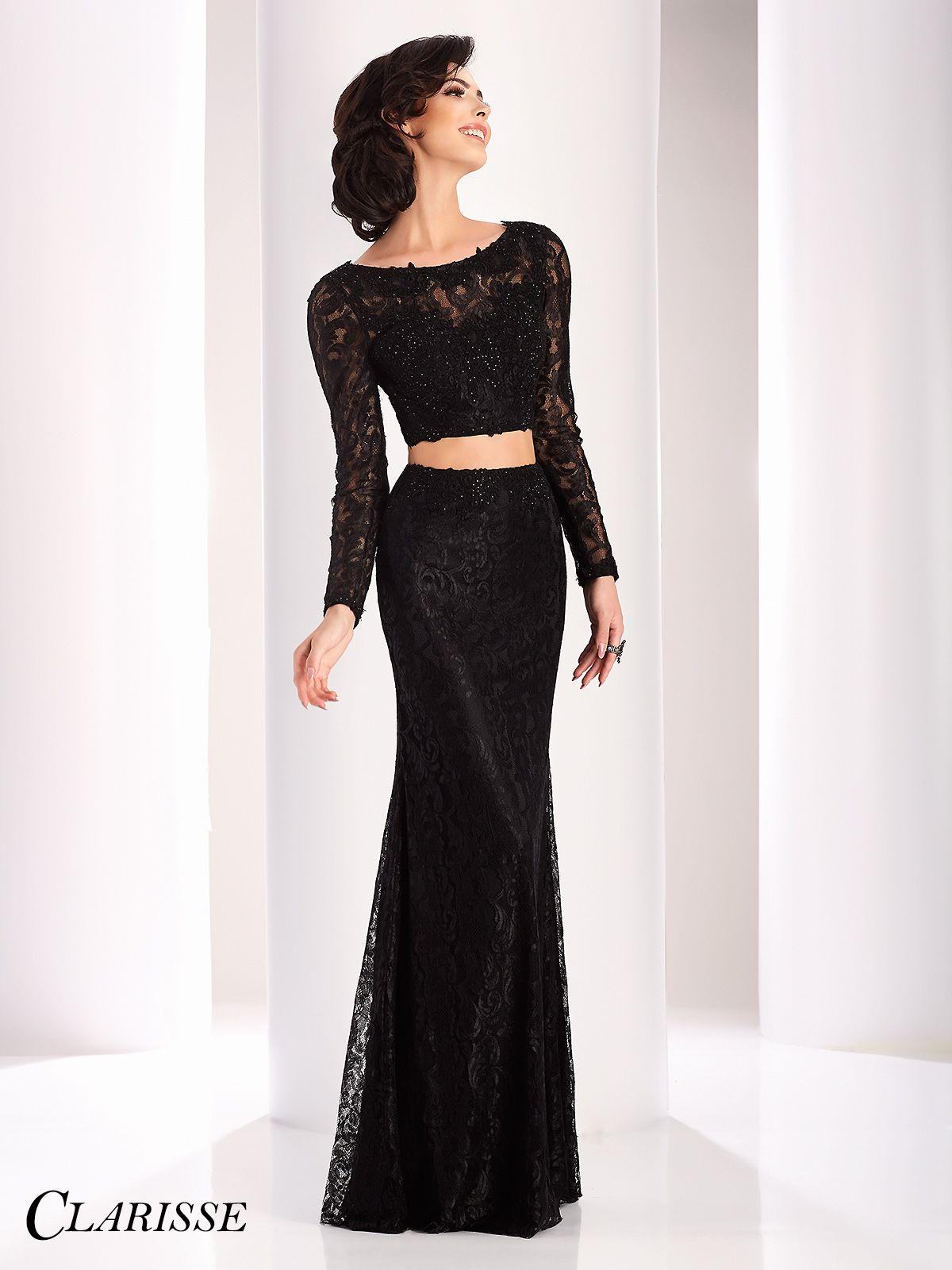 Clarisse long sleeve lace two piece formal dresses