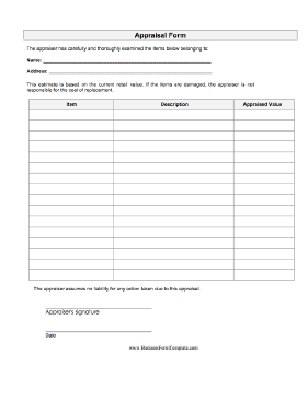 This Form Lets An Appraiser List Items And Their Corresponding