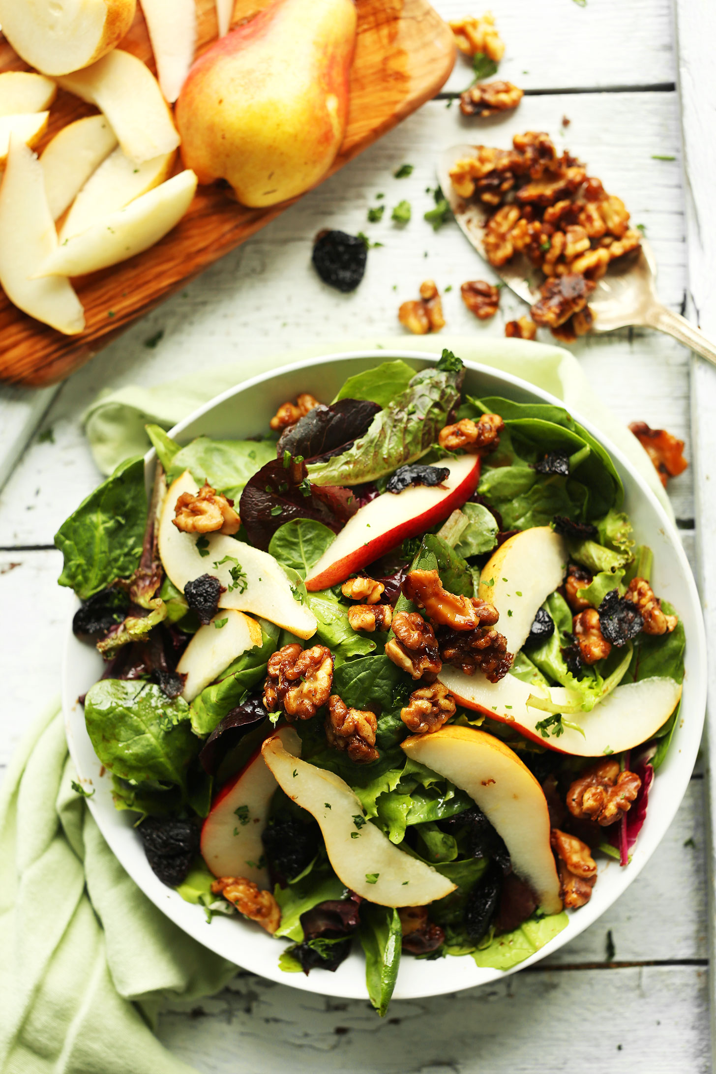 pear balsamic salad with dried cherries and candied walnuts recipe