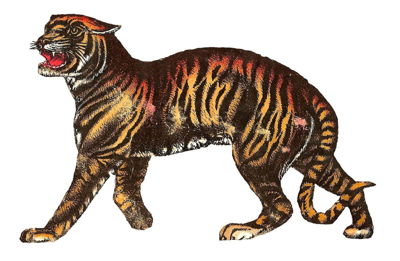 Vintage Circus Tiger Clipart - Clip Art