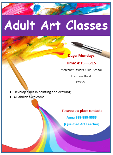 Painting workshop flyer flyers and brochures pinterest for Art brochure templates free