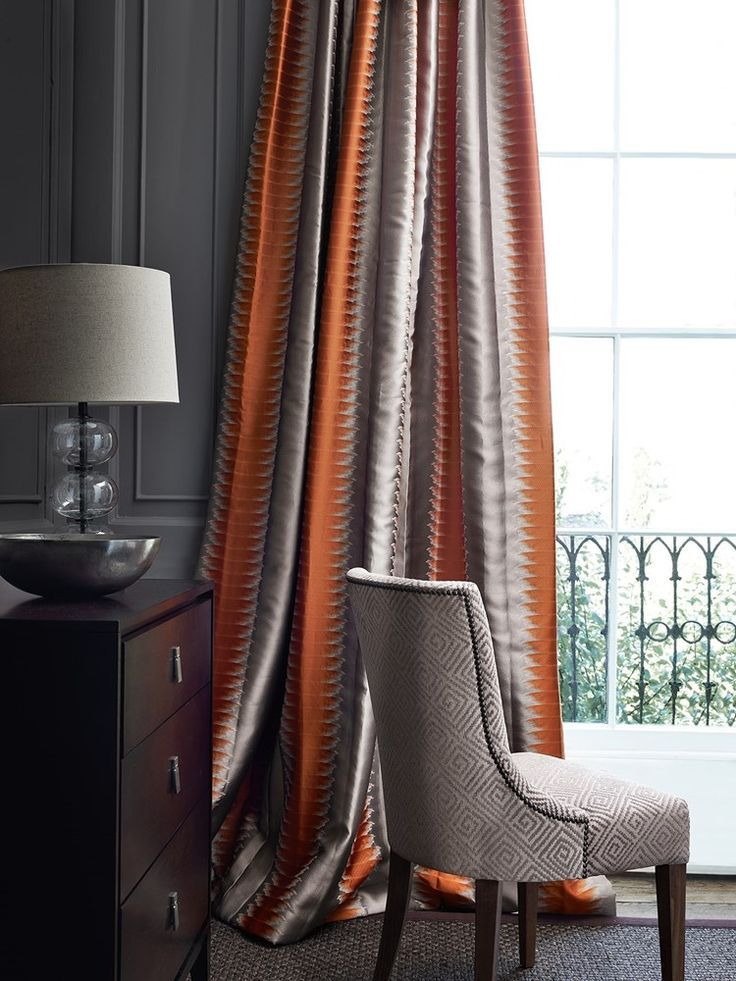 Orange And Grey Striped Curtains In A Fabric By Cowtan Tout Jane Churchill Living Room Orange Burnt Orange Living Room Decor Burnt Orange Living Room