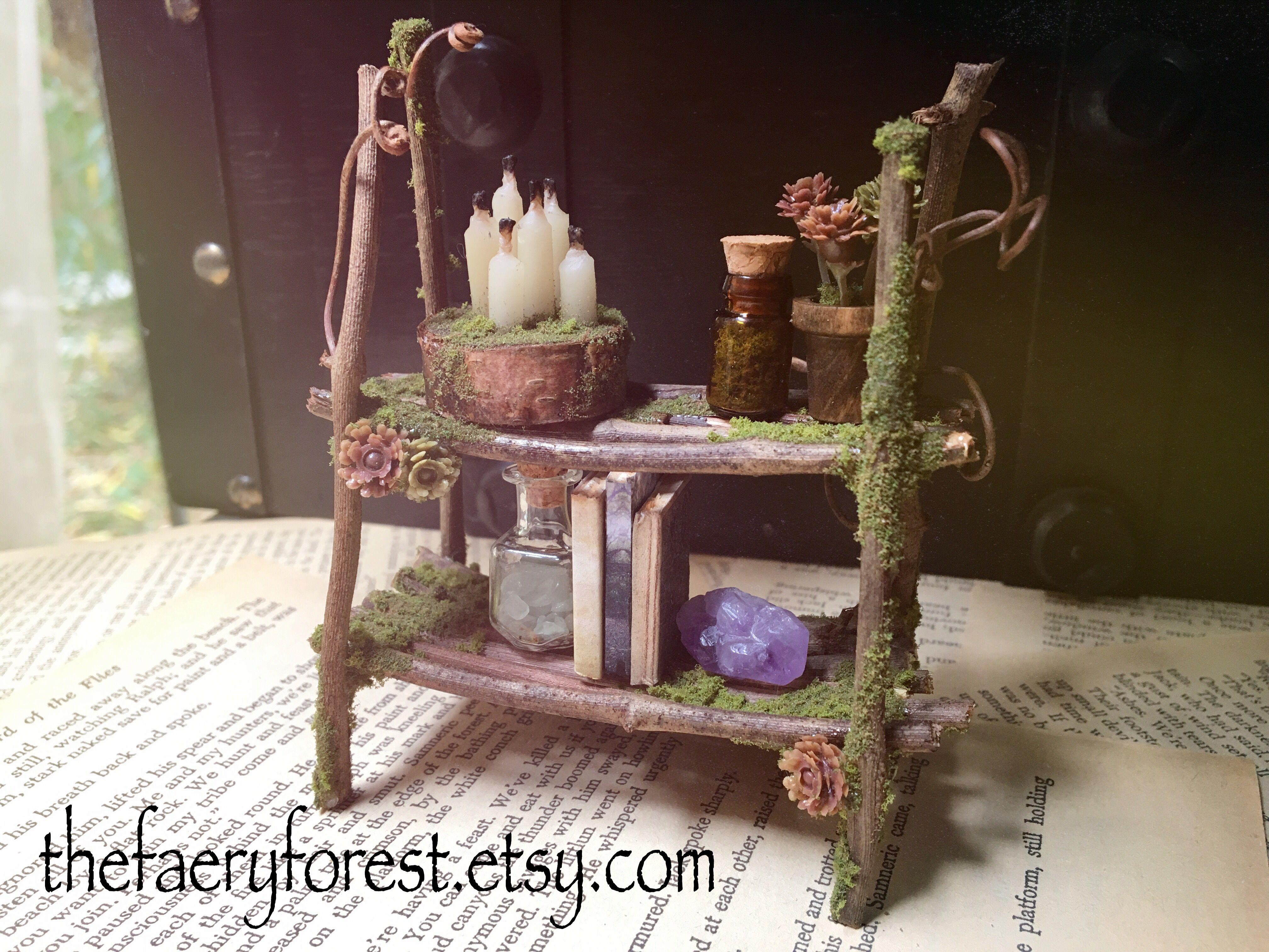 Faery Bookshelf - fairy furniture handmade by thefaeryforest on Etsy ...