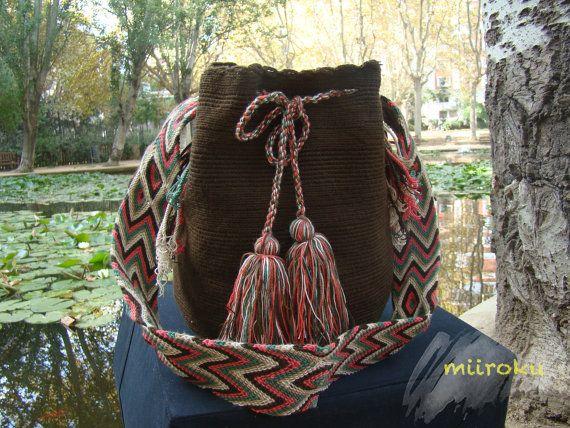 Wayuu Mochila Bag brown and colorful strap. by MiirokuMochilas