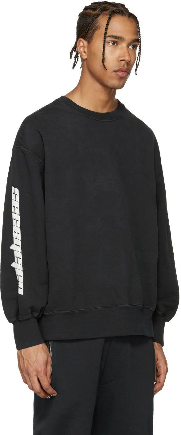 YEEZY Black 'Calabasas' Boxy Crewneck Sweatshirt. #yeezy