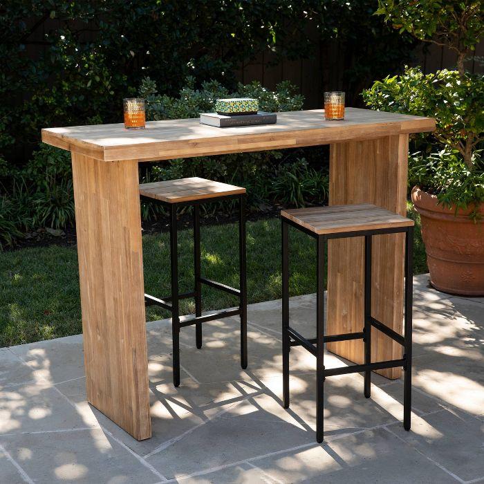 Venalese Outdoor Patio Bar Table Aiden Lane In 2020 Outdoor Bar Table Wood Bar Table Outdoor Patio Bar