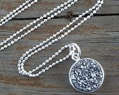 CLEARANCE SALE...Sterling Silver Druzy Necklace