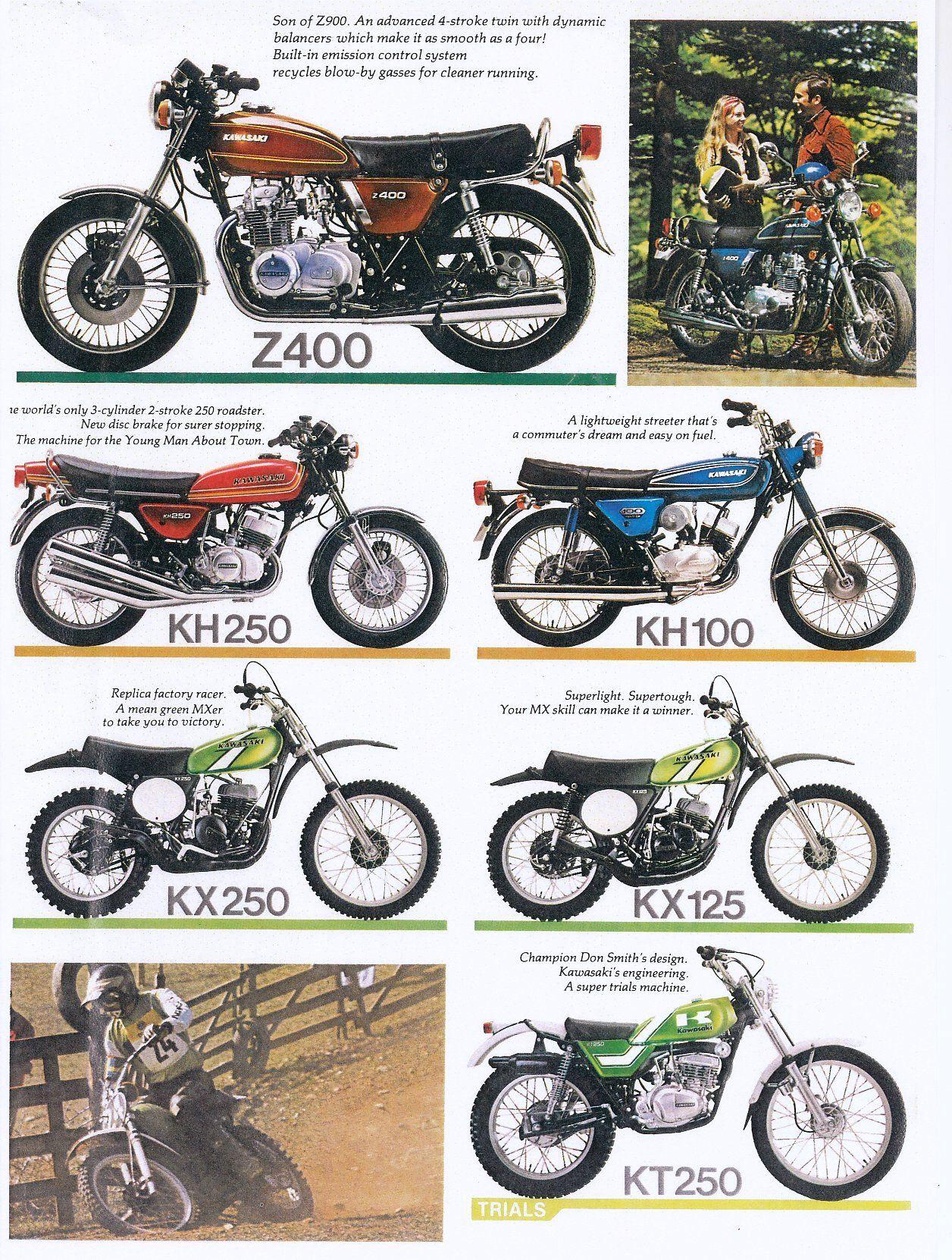 1976 Kawasaki Motorcycle Models Kz400 Kh250 Kh100 Kx125 Kx250