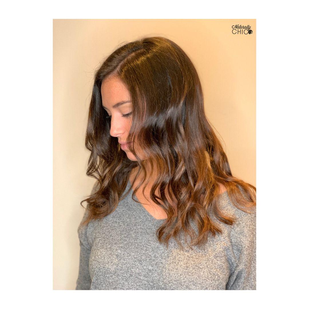 Silk press with wavy curls Natural hair salons, Natural